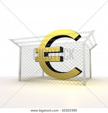 Isolated metallic steel caged Euro 3d symbol