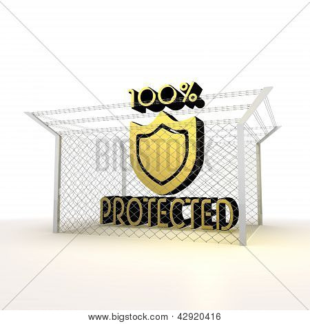 Isolated metallic cent percent locked protected 3d sign