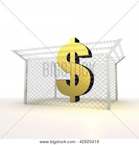 Isolated metallic money Dollar 3d  icon