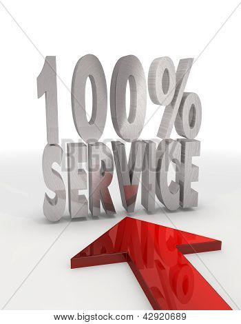 Decorative 100 percent service icon with red arrow