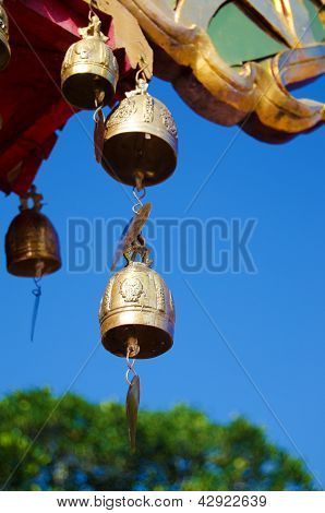 Decoration Bell On Buddha Temple Roof