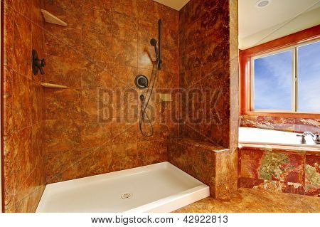 Luxury Red Marble Bathroom In A New Luxury Home Interior.