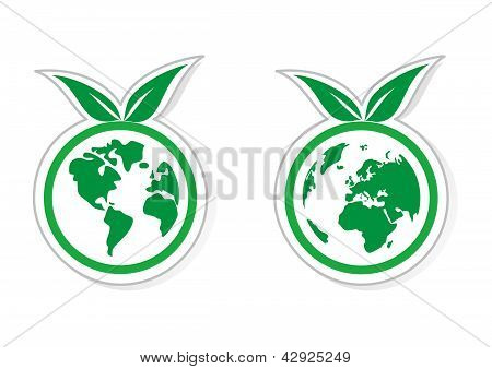Green vector eco icons. World globe isolated on white background