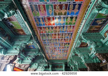 Madurai Tamil Nadu India March 11 2011. Inside of Meenakshi hindu temple.