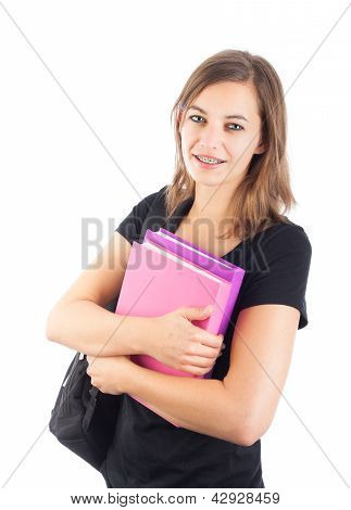 Smiling Attractive Female Student With Backpack Holding Books