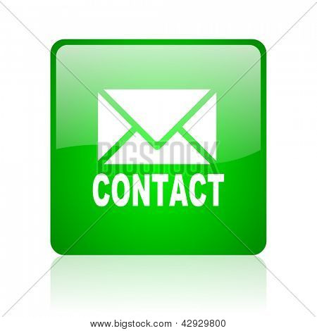 contact green square web icon on white background