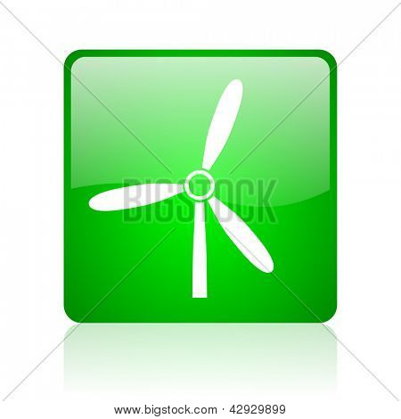windmill green square web icon on white background