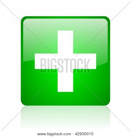 emergency green square web icon on white background