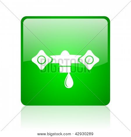 water green square web icon on white background