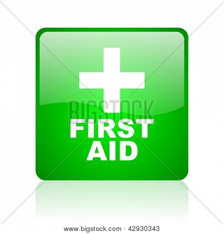 first aid green square web icon on white background