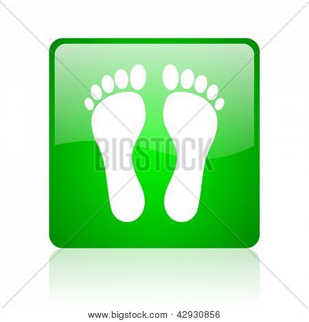 footprint green square web icon on white background