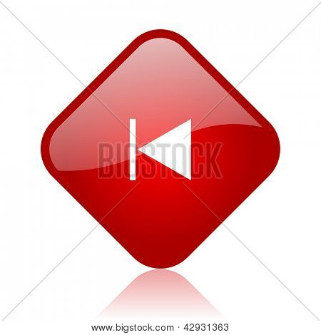 prev red square glossy web icon