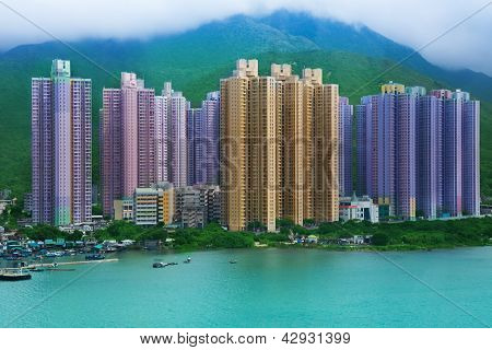 Hong Kong Skyscrapers Near The Sea