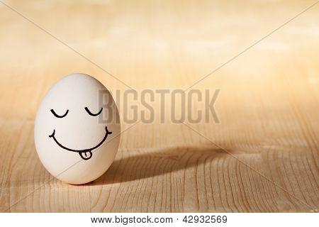 Smiley Face On White Egg