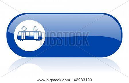 icono brillante de tranvía azul web