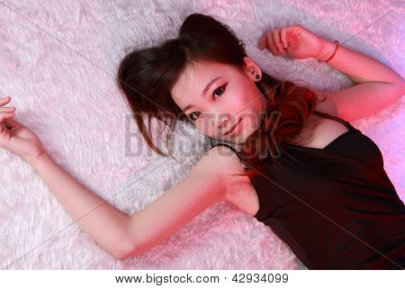 Sexy Woman In Various Fun Poses With Colourful Background.