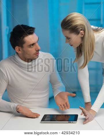 picture of man and woman in space laboratory