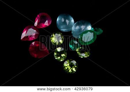 Colorful Gems  On A Black Background