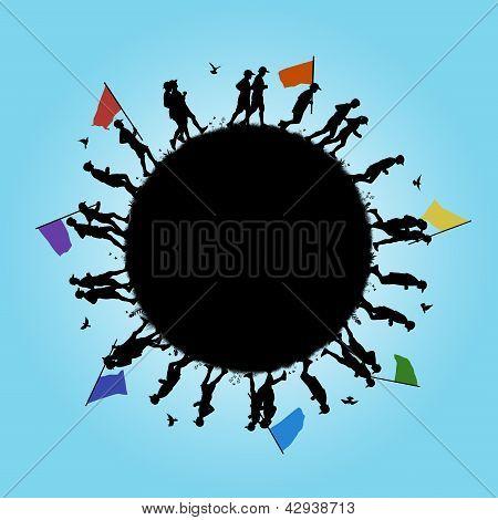 Pessoas correndo ao redor do planeta com uma mensagem de paz