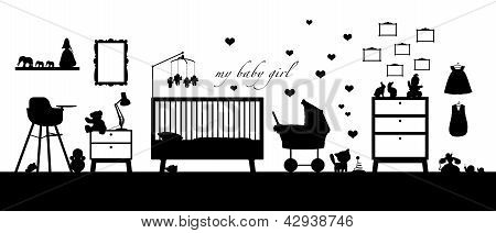 Baby Girl Room Interior Black Silhouette