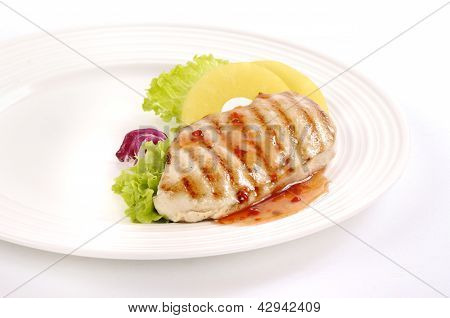Grilled chicken steak with pineapple