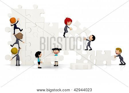 3D Business team arranging a puzzle - isolated over white background