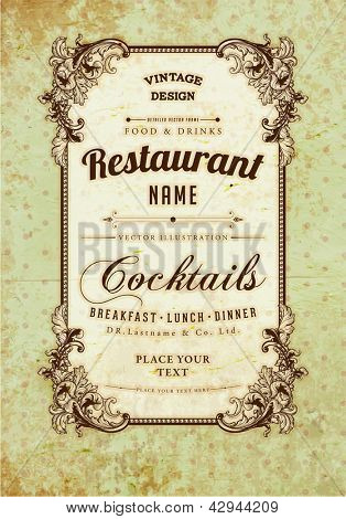 Vintage frame with floral ornament with grunge background for restaurant name design