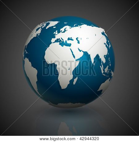 Globe icon with smooth vector shadows and white map of the continents of the world