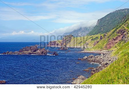 Rocky Coast On A Summer Day