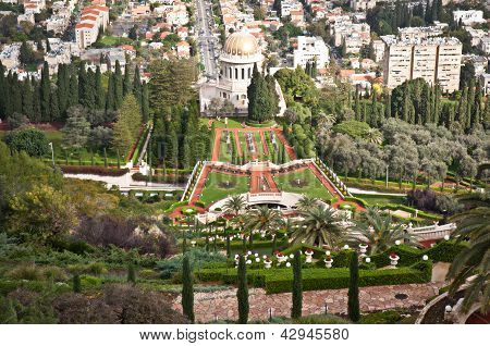 Panorama of Bahai Gardens in Haifa Israel