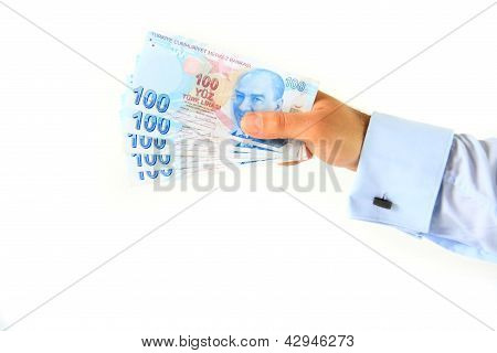 Business Man Holding Turkish Lira