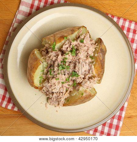Jacket potato with tuna mayonnaise.
