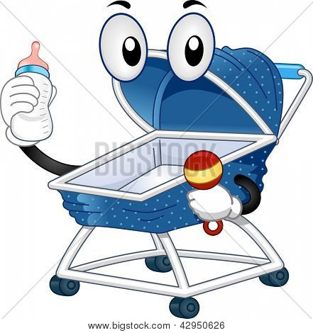 Illustration of a Mascot Baby Stroller holding a Feeding Bottle on one hand and a Baby Rattle on the other