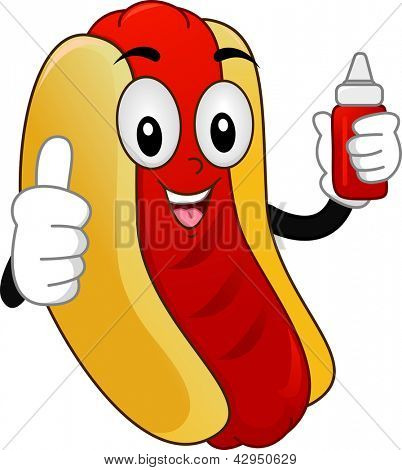 Illustration of a Mascot  Hotdog Sandwich with showing a Thumbs-Up and holding a Squeeze Bottle of Catsup