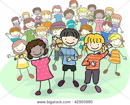 Illustration of Stick Kids Leading a Crowd