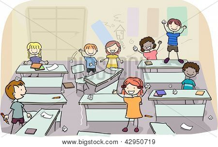 Illustration of Stick Kids making mess on their classroom