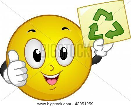 Ilustração do Smiley com polegares para cima segurando um cartaz de reciclar