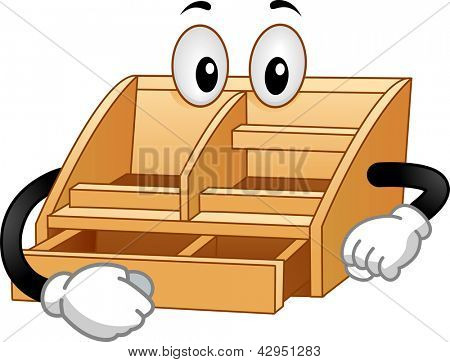 Illustration of a Wooden Desktop Valet Mascot opening a drawer