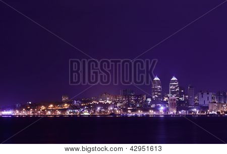 Night Skyline of Dnipropetrovsk with Reflection in the river Dnipro, Ukraine