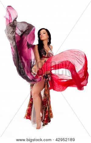 Bellydancer Dancing with Multicolored Veils