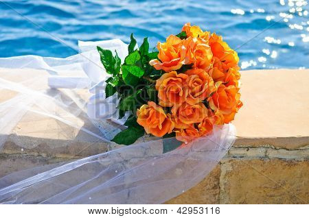 Wedding Bouquet Of Orange Roses