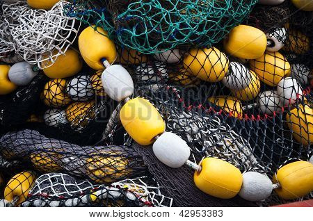 Fishing Nets With Yellow And White Floats