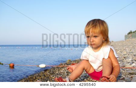 Little Girl On A Seacoast
