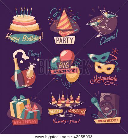 Retro party emblems