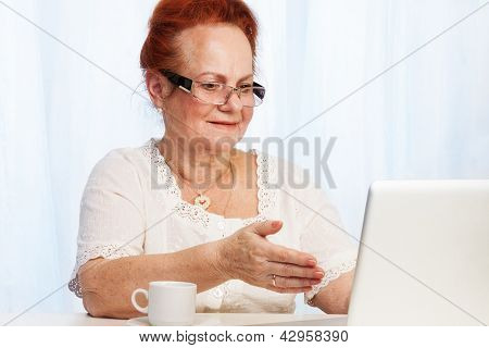 Granma Having Fun In The Internet