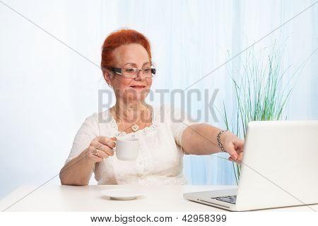 Senior Lady Pointing To Laptop Screen