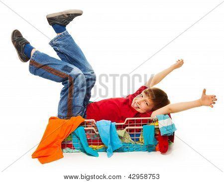 Cute Boy In Red T-shirt Having Fun