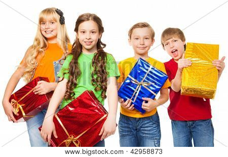 Funny Kids Holding Presents