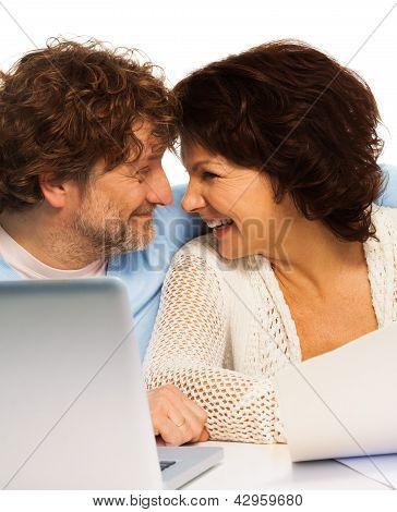 Senior Couple And Pc