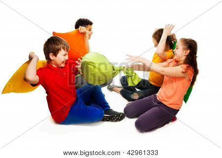 Four Kids Having Pillow Fight